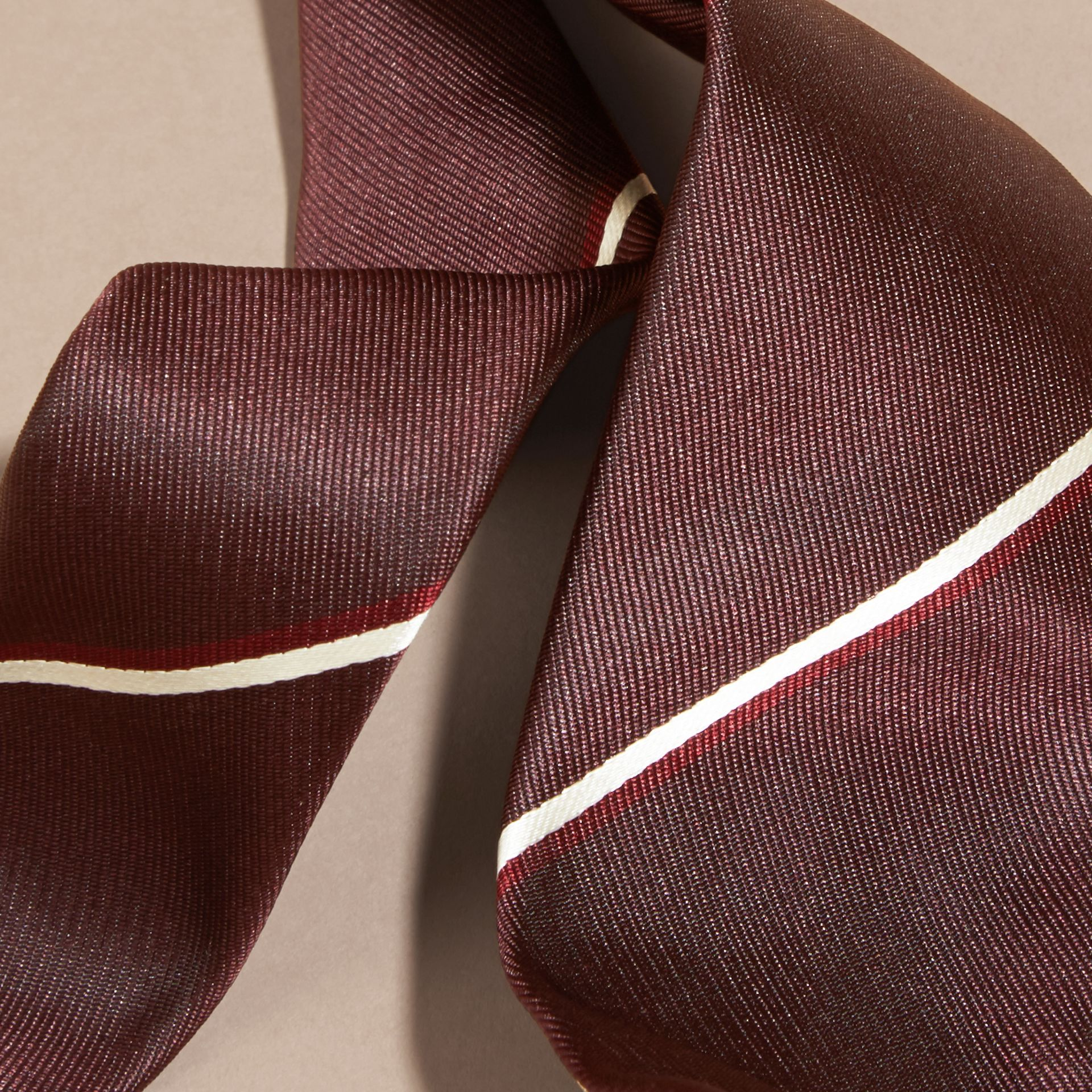 Slim Cut Striped Silk Tie in Deep Claret - gallery image 2