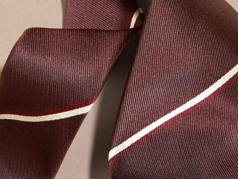 Slim Cut Striped Silk Tie in Deep Claret - cell image 1
