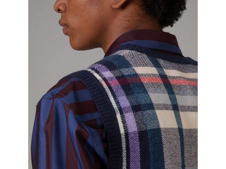 Check Cashmere Tank Top in Bright Navy - Men | Burberry United States - cell image 4