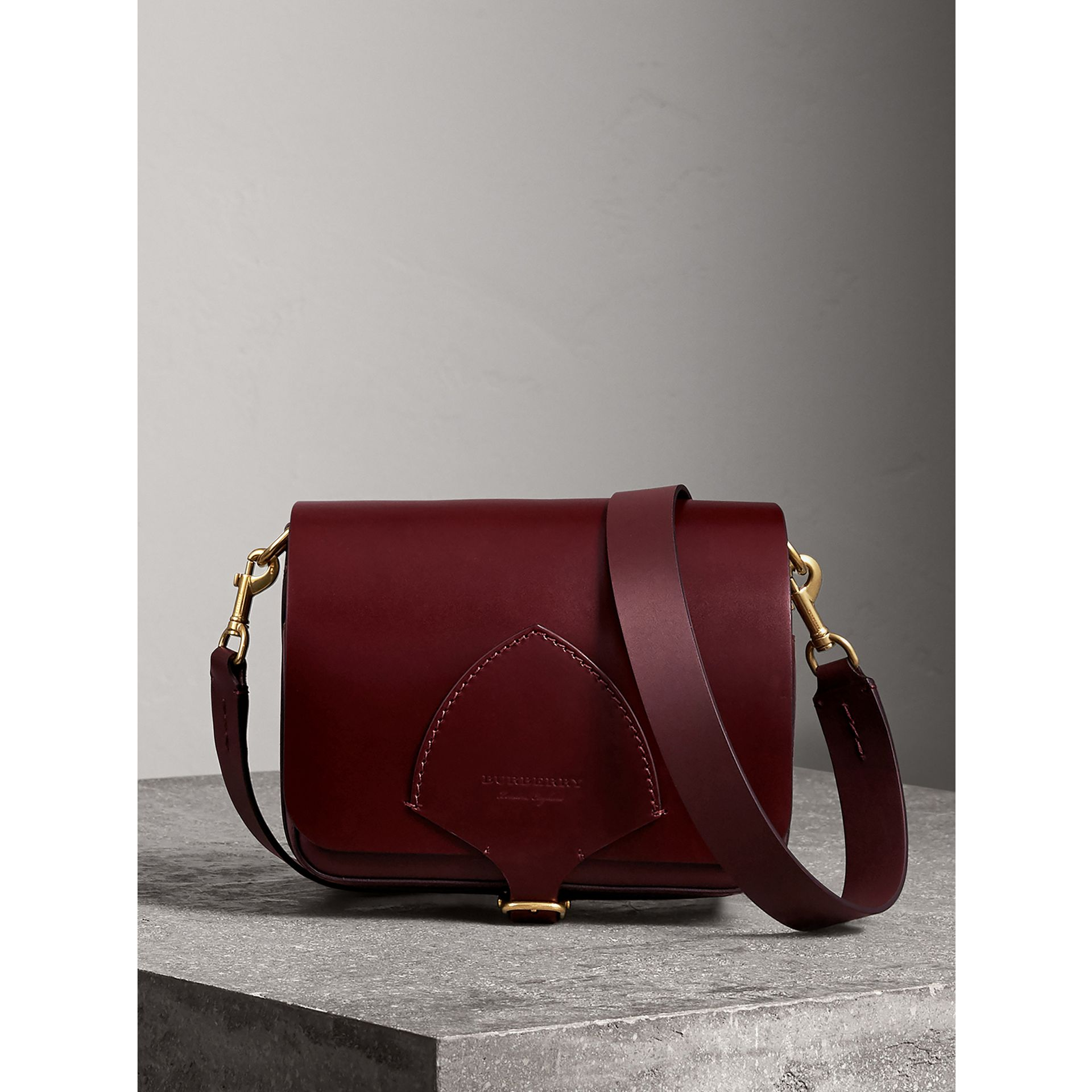 The Square Satchel in Bridle Leather in Deep Claret - Women | Burberry Australia - gallery image 1