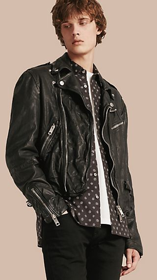 Washed Lambskin Biker Jacket