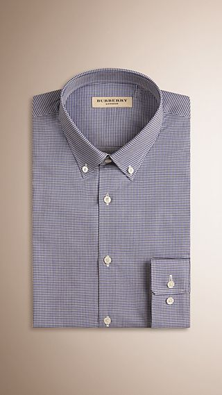 Slim Fit Button-down Collar Gingham Cotton Poplin Shirt
