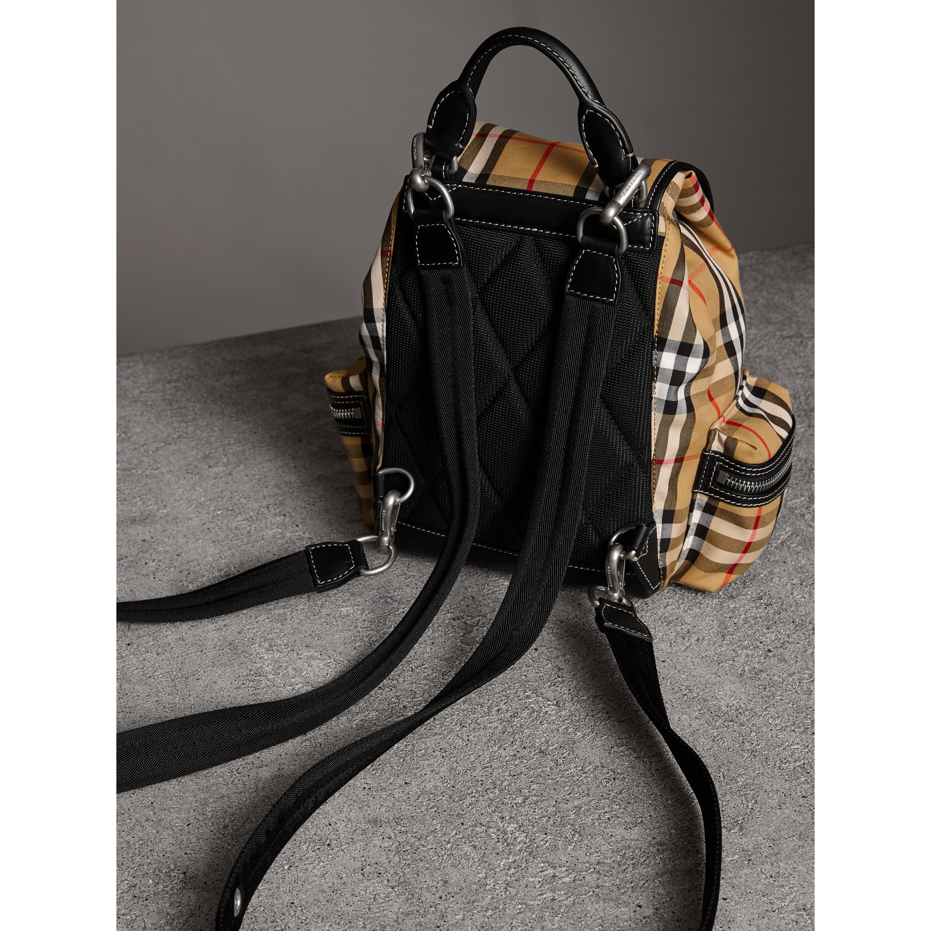 The Crossbody Rucksack in Vintage Check and Leather in Antique Yellow - Women | Burberry - gallery image 4