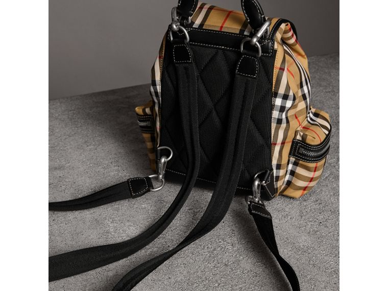 The Crossbody Rucksack in Vintage Check and Leather in Antique Yellow - Women | Burberry United Kingdom - cell image 4