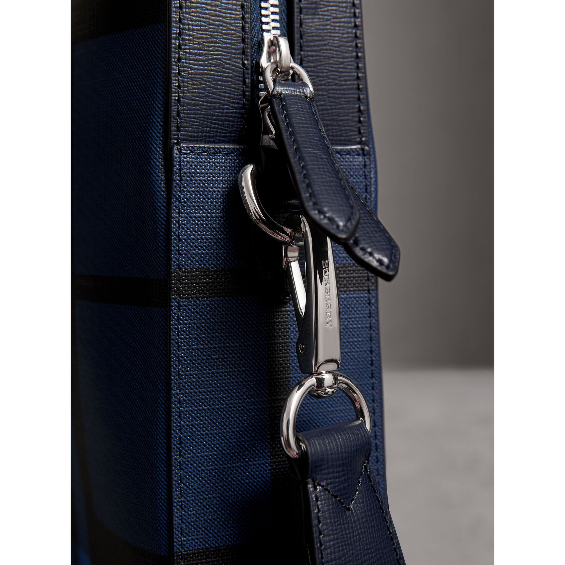 Medium Leather Trim London Check Briefcase in Bright Lapis - Men | Burberry - gallery image 2
