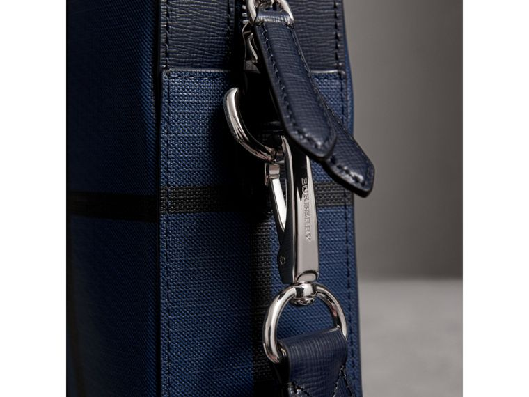 Medium Leather Trim London Check Briefcase in Bright Lapis - Men | Burberry Australia - cell image 1