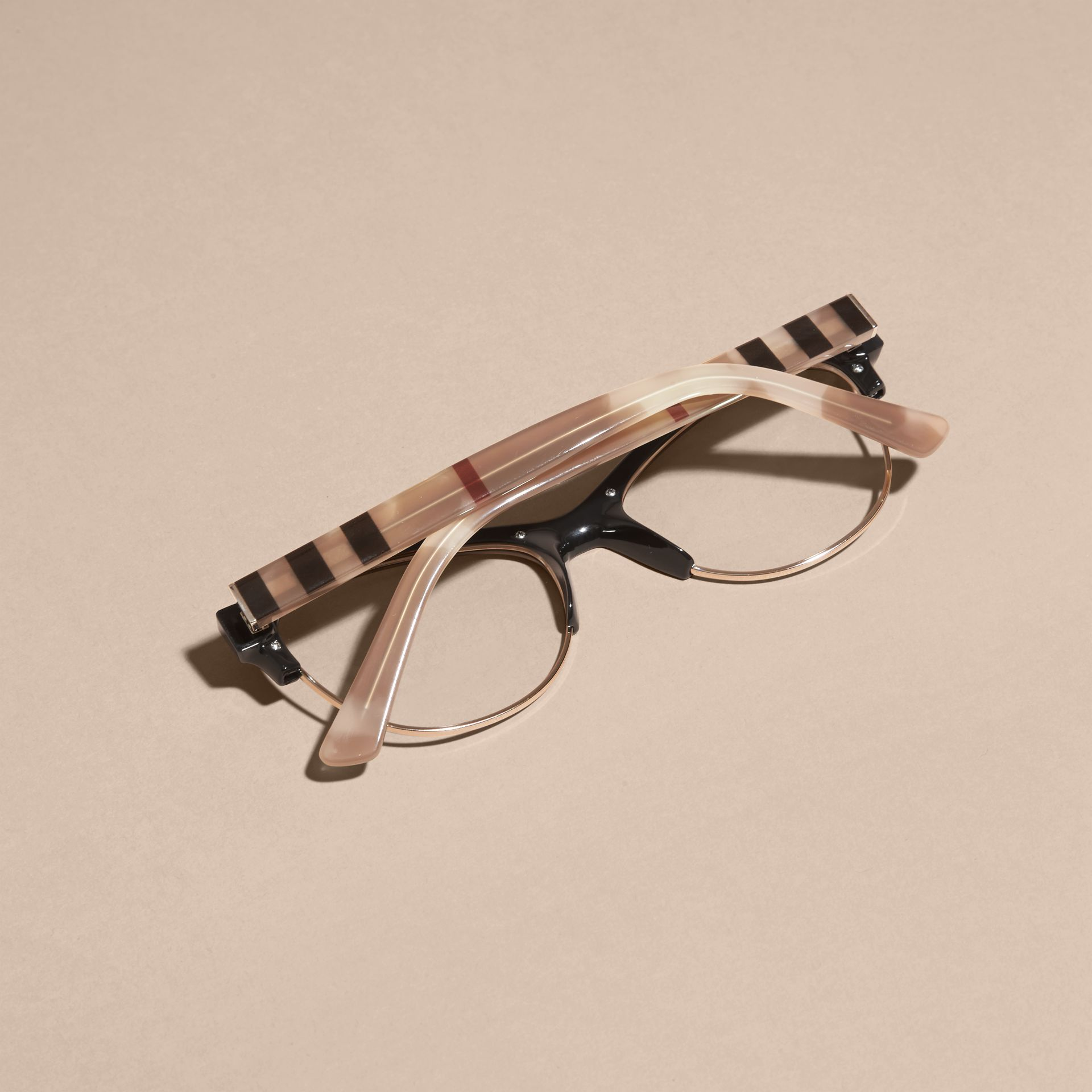 Burberry Half Frame Glasses : Half-rimmed Cat-eye Optical Frames Black Burberry
