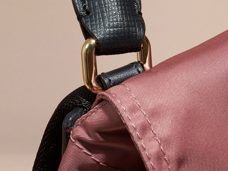 The Small Rucksack in Technical Nylon and Leather Mauve Pink - cell image 4