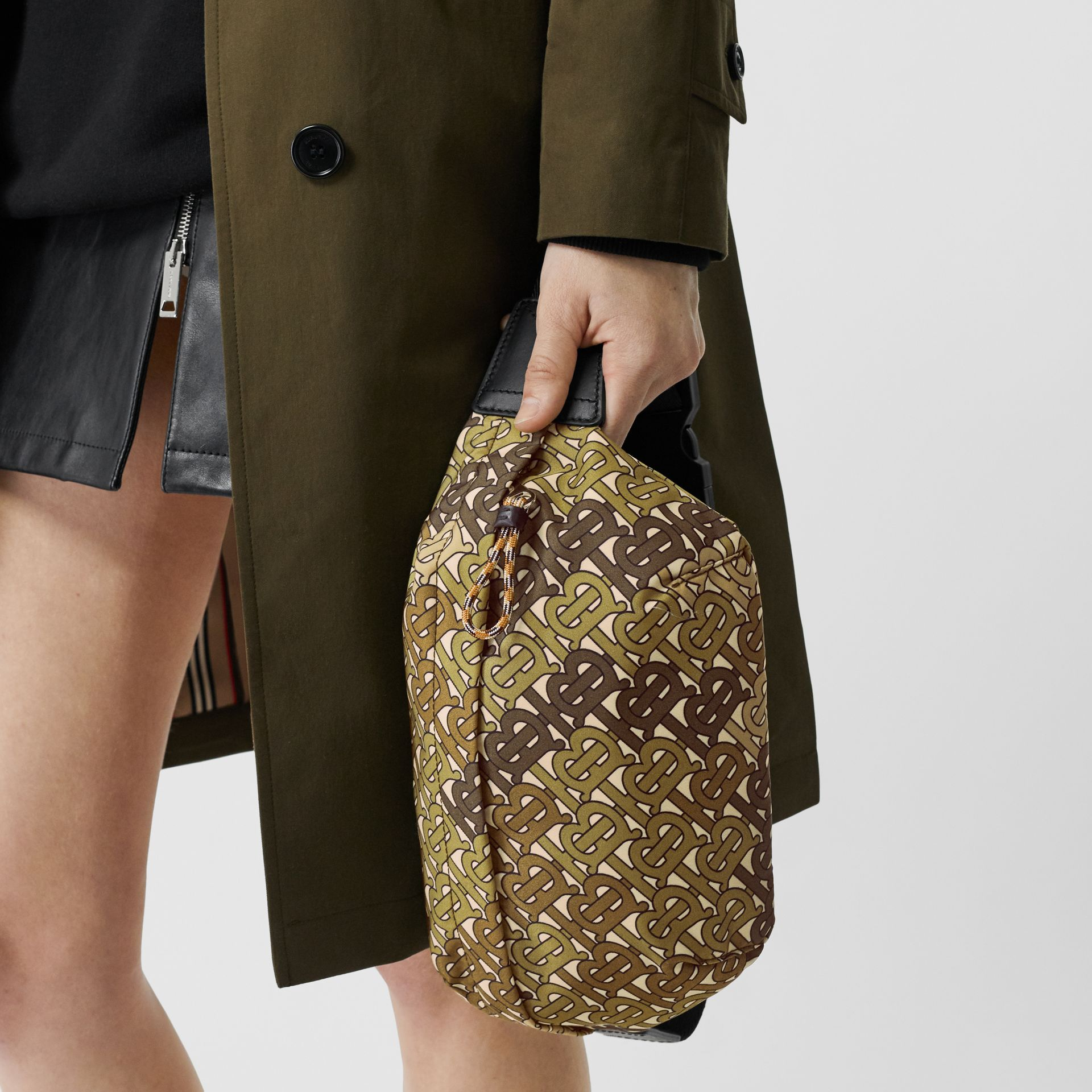 Medium Monogram Print Bum Bag in Khaki Green | Burberry Singapore - gallery image 2