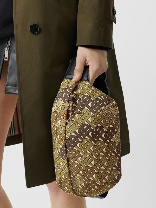Medium Monogram Print Bum Bag in Khaki Green | Burberry Canada - cell image 2