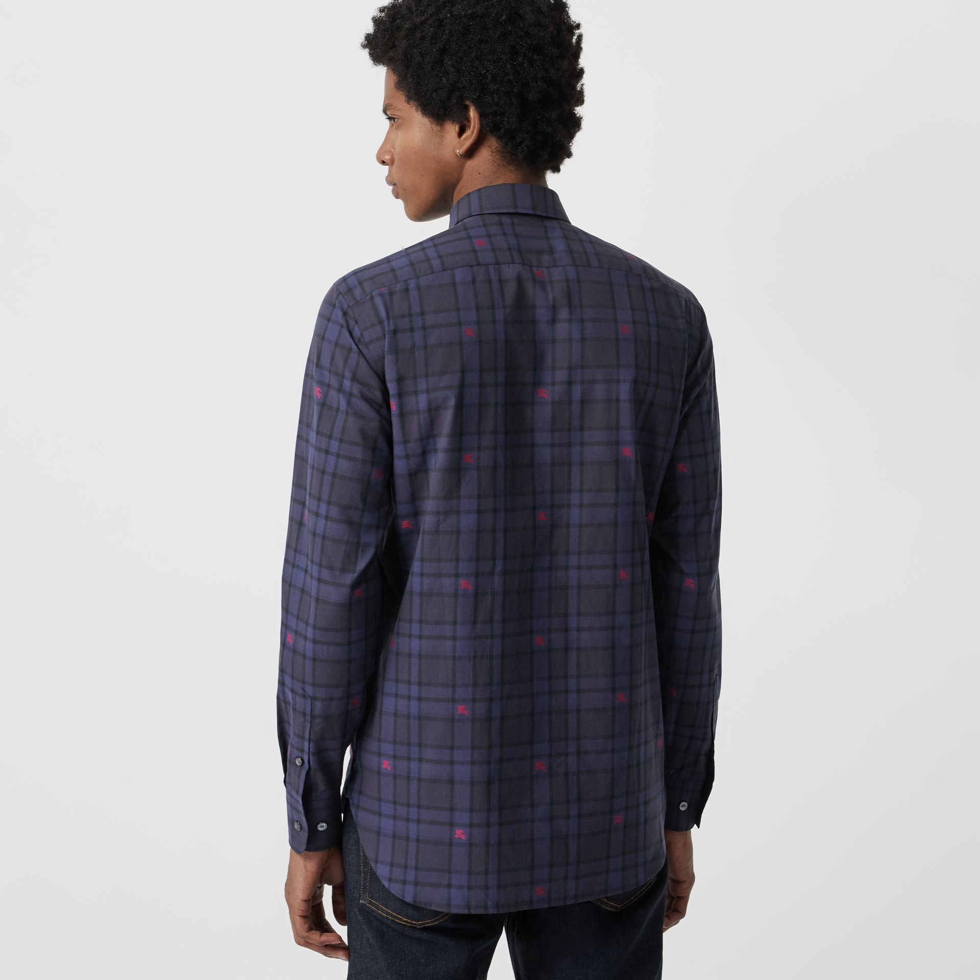 Equestrian Knight Check Cotton Shirt in Dark Indigo - Men | Burberry Canada - gallery image 2