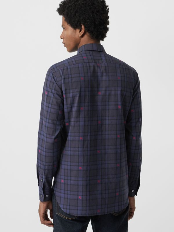 Equestrian Knight Check Cotton Shirt in Dark Indigo - Men | Burberry United States - cell image 2