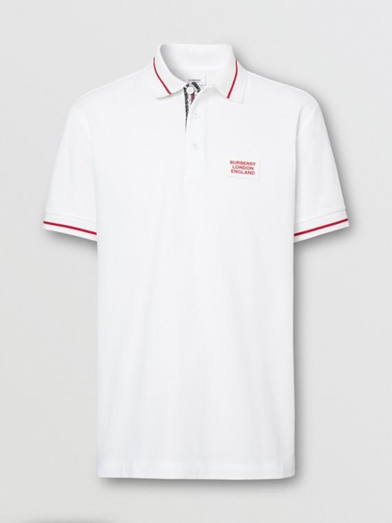 ロゴアップリケ コットンピケ ポロシャツ (ホワイト)