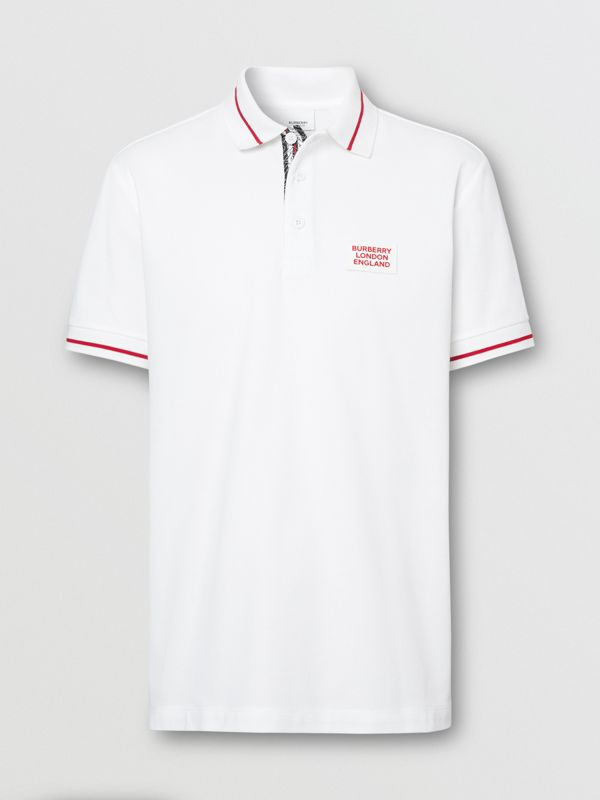 Logo Appliqué Cotton Piqué Polo Shirt in White - Men | Burberry - cell image 3