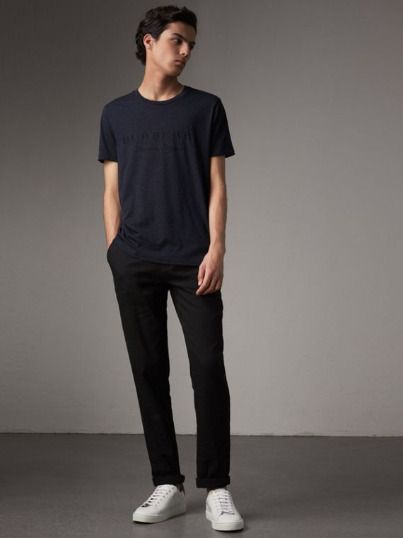 Devoré Cotton Jersey T-shirt in Navy Melange