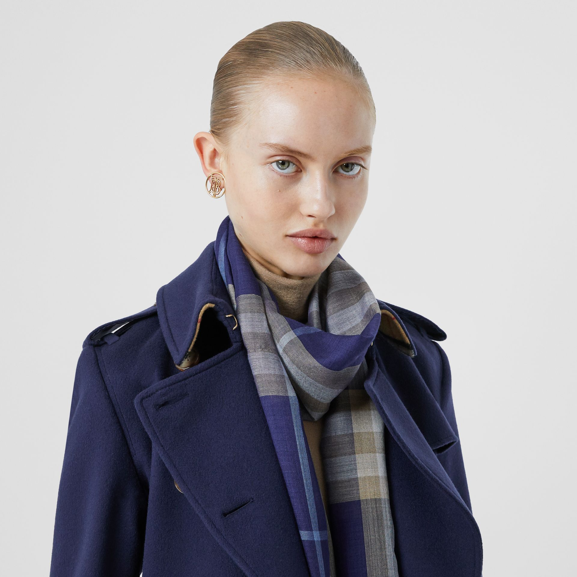 Lightweight Check Wool Silk Scarf in Inky Blue | Burberry - gallery image 2