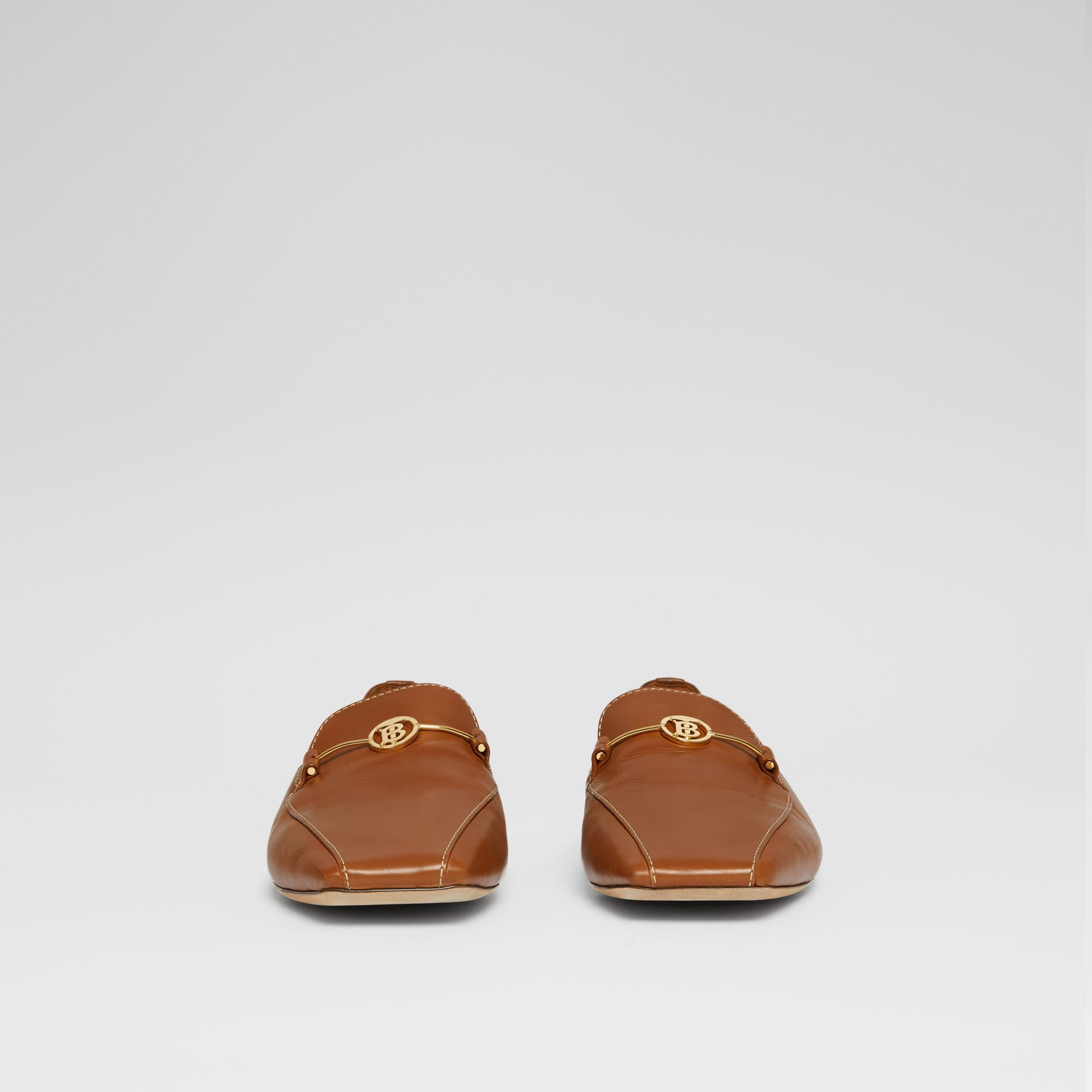 Monogram Motif Leather Loafers in Tan - Women | Burberry United Kingdom - gallery image 3