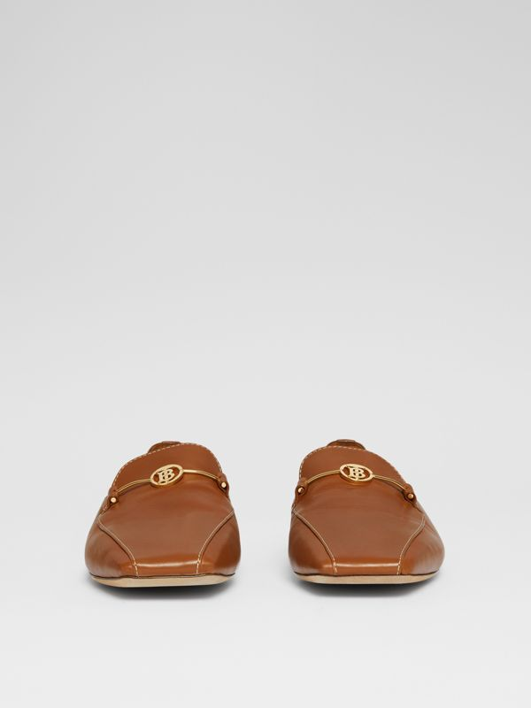 Monogram Motif Leather Loafers in Tan - Women | Burberry United Kingdom - cell image 3