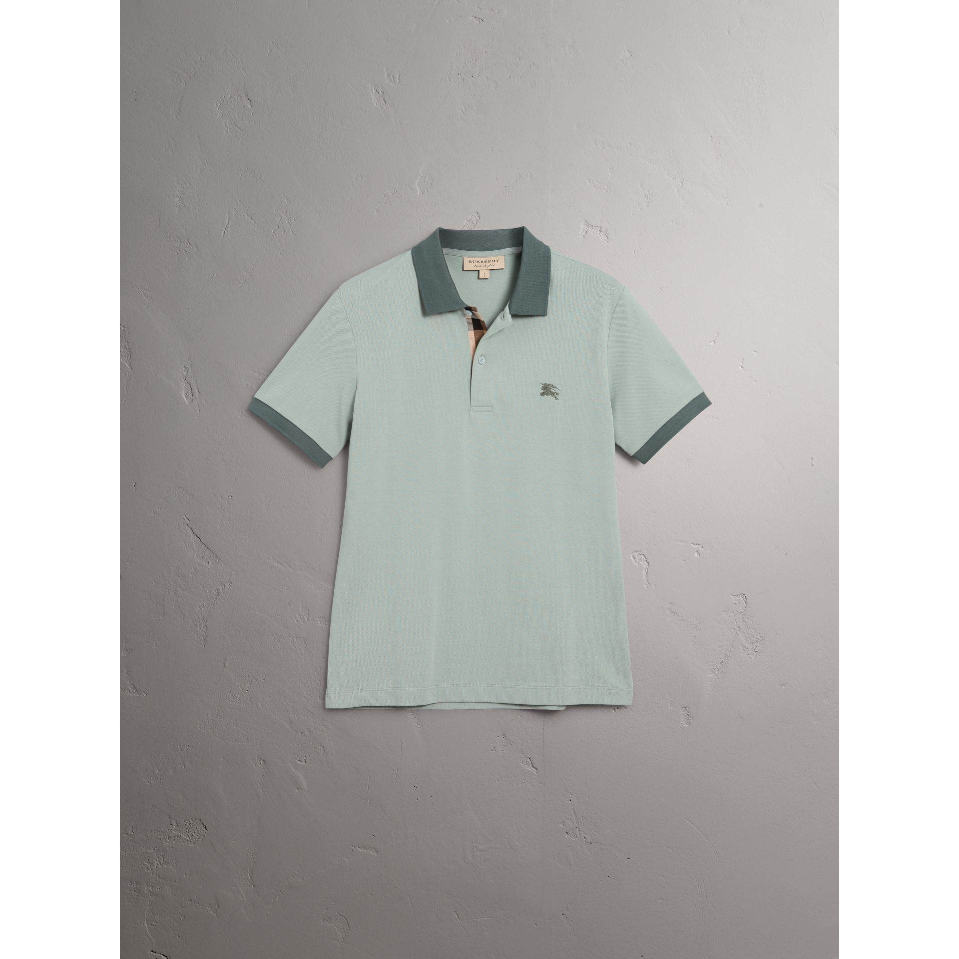 Cotton Piqué Polo Shirt in Eucalyptus Green - Men | Burberry - gallery image 3