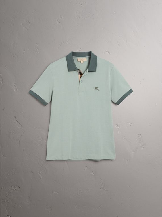 Cotton Piqué Polo Shirt in Eucalyptus Green - Men | Burberry - cell image 3