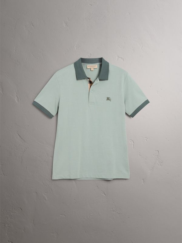 Cotton Piqué Polo Shirt in Eucalyptus Green - Men | Burberry - cell image 3