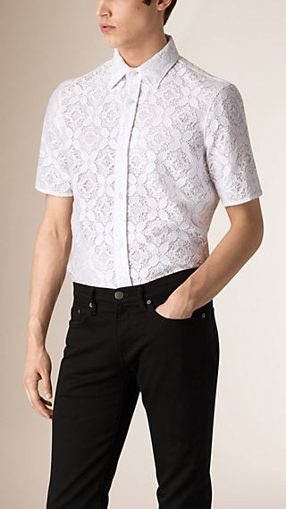 Short Sleeve Italian Lace Shirt