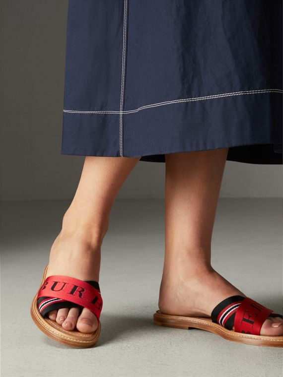 Striped Nylon and Leather Slides in Black/red/white - Women | Burberry - cell image 2