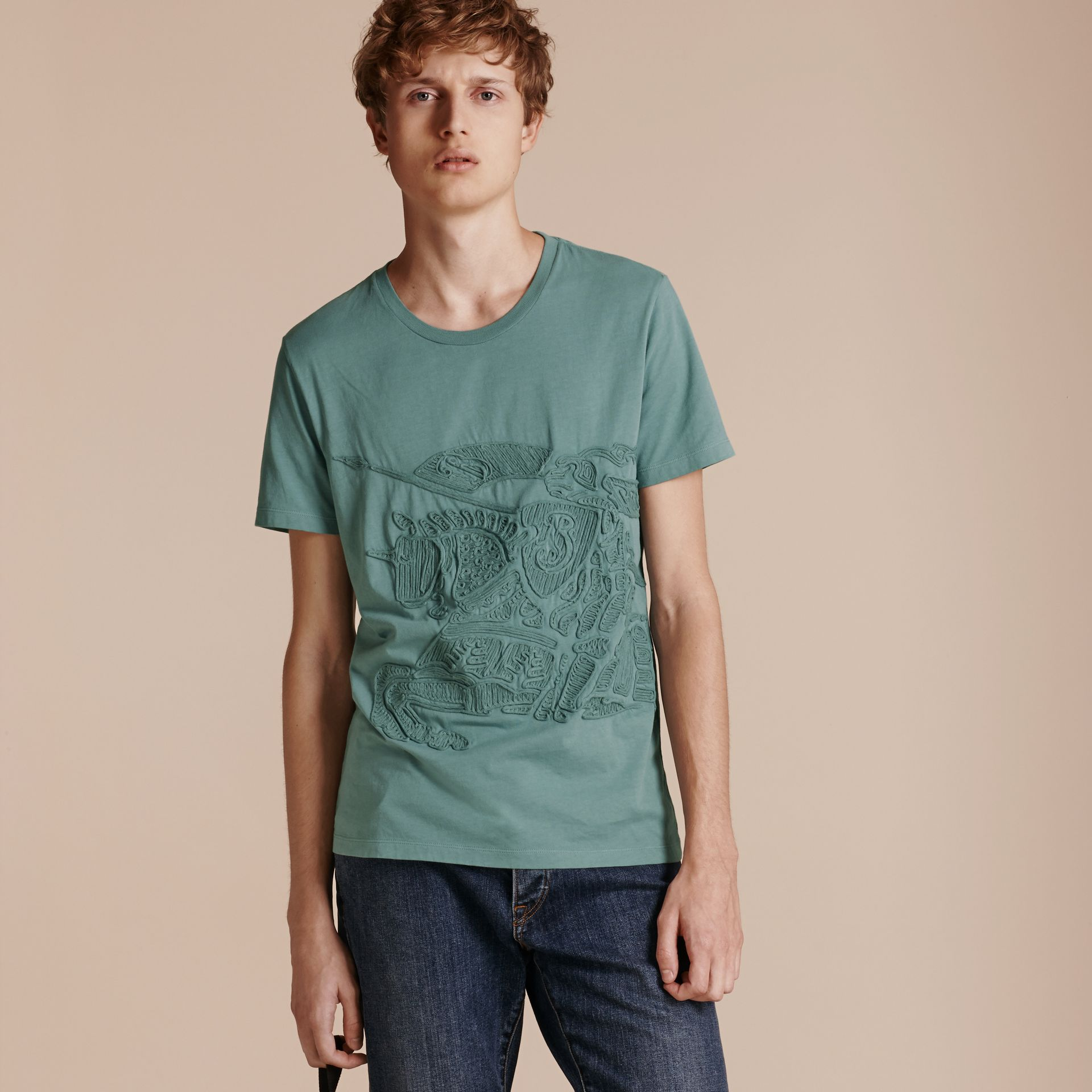 Embroidered Equestrian Knight Cotton T-shirt - gallery image 6