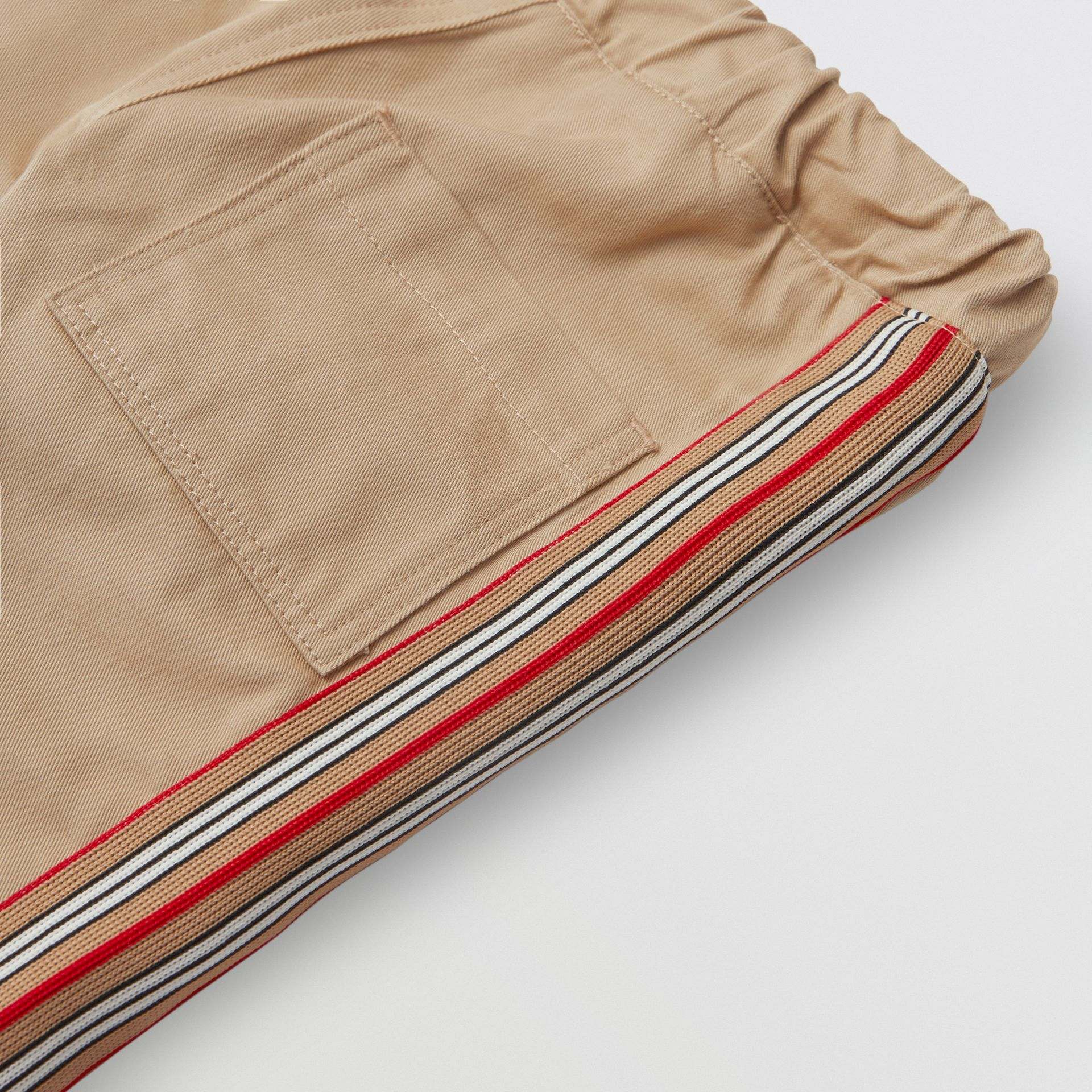 Icon Stripe Detail Cotton Chinos in Honey - Children | Burberry - gallery image 1