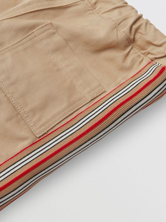 Icon Stripe Detail Cotton Chinos in Honey - Children | Burberry - cell image 1