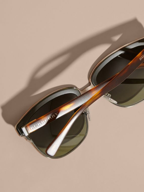 Textured Front Square Frame Sunglasses in Dark Olive - Men | Burberry Australia - cell image 3
