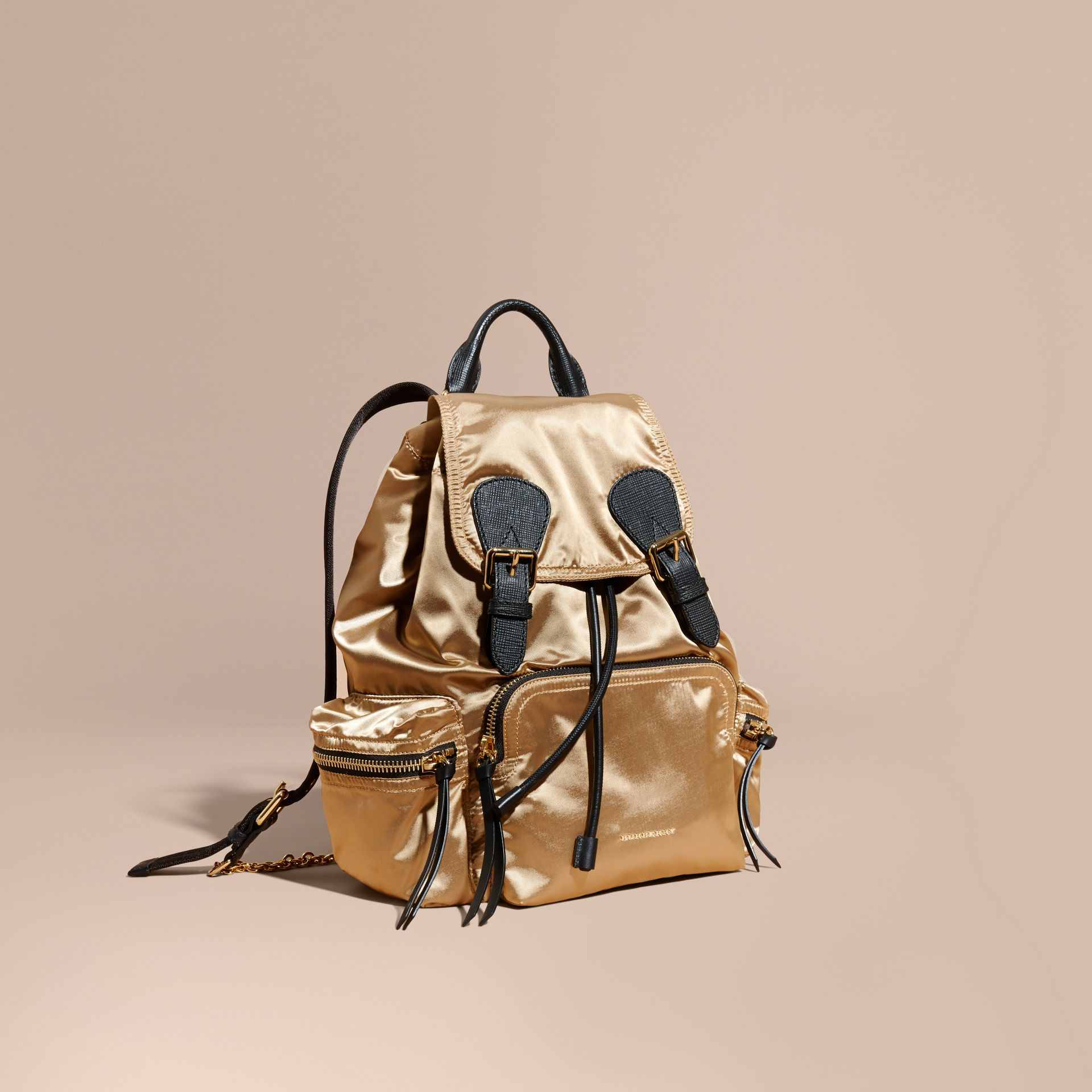 The Medium Rucksack in Two-tone Nylon and Leather in Gold/black - Women | Burberry - gallery image 1