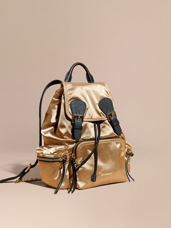 The Medium Rucksack in Two-tone Nylon and Leather Gold/black