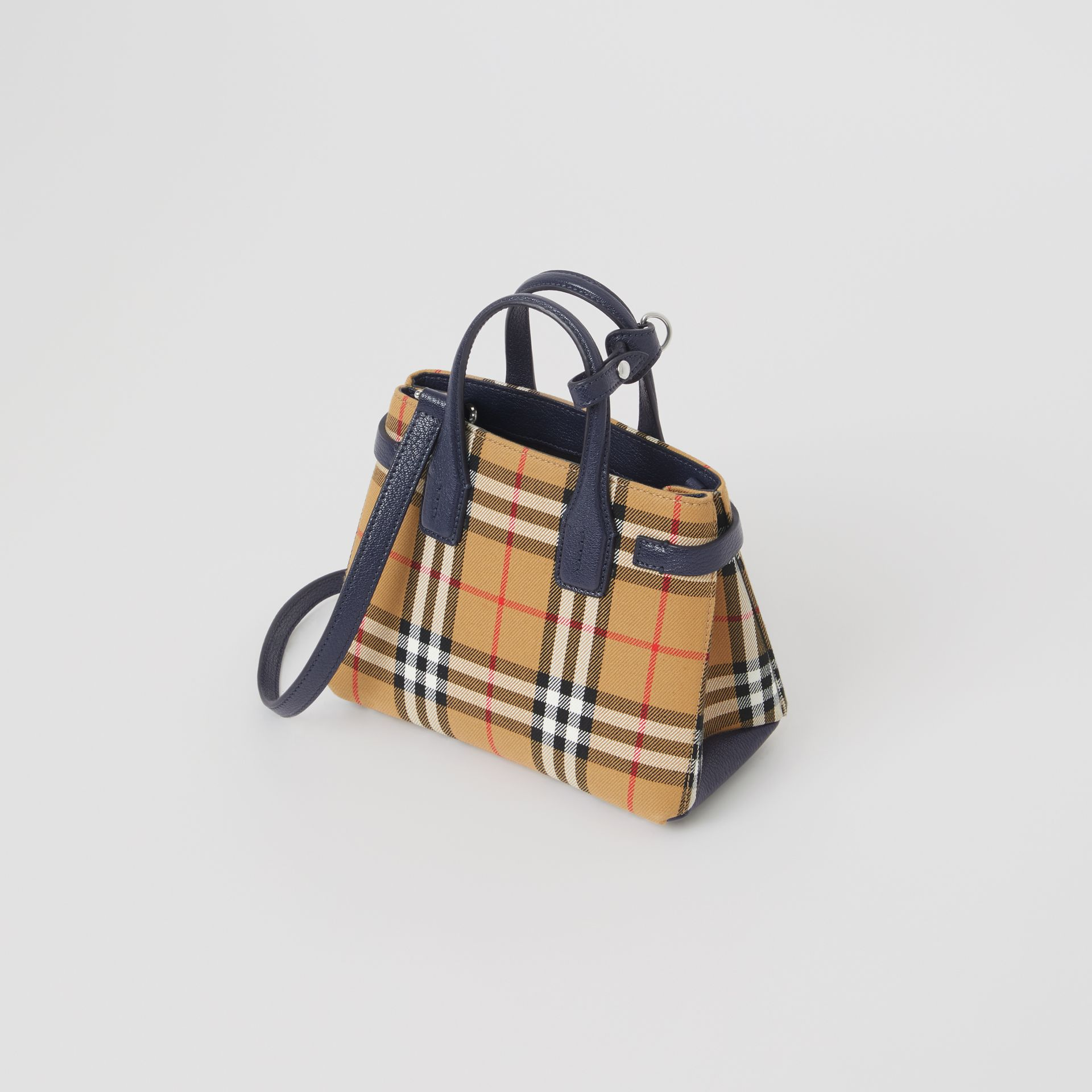 The Baby Banner in Vintage Check and Leather in Regency Blue - Women | Burberry Canada - gallery image 3