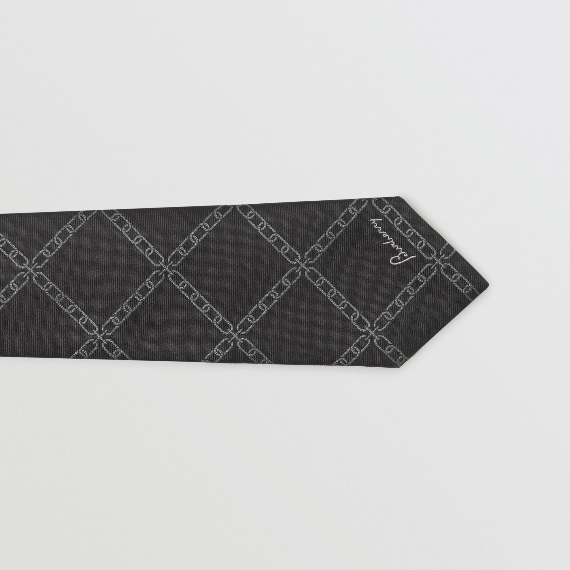 Slim Cut Link Print Silk Tie in Black - Men | Burberry United States - gallery image 1