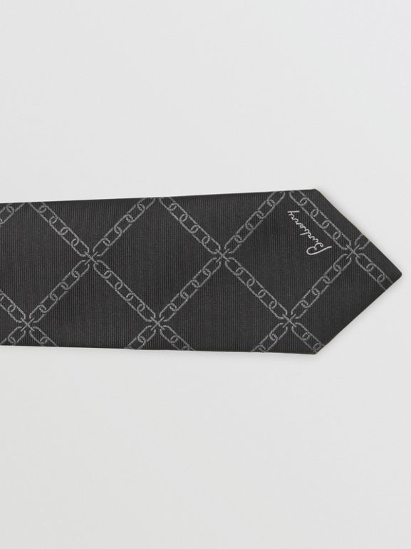 Slim Cut Link Print Silk Tie in Black - Men | Burberry United Kingdom - cell image 1
