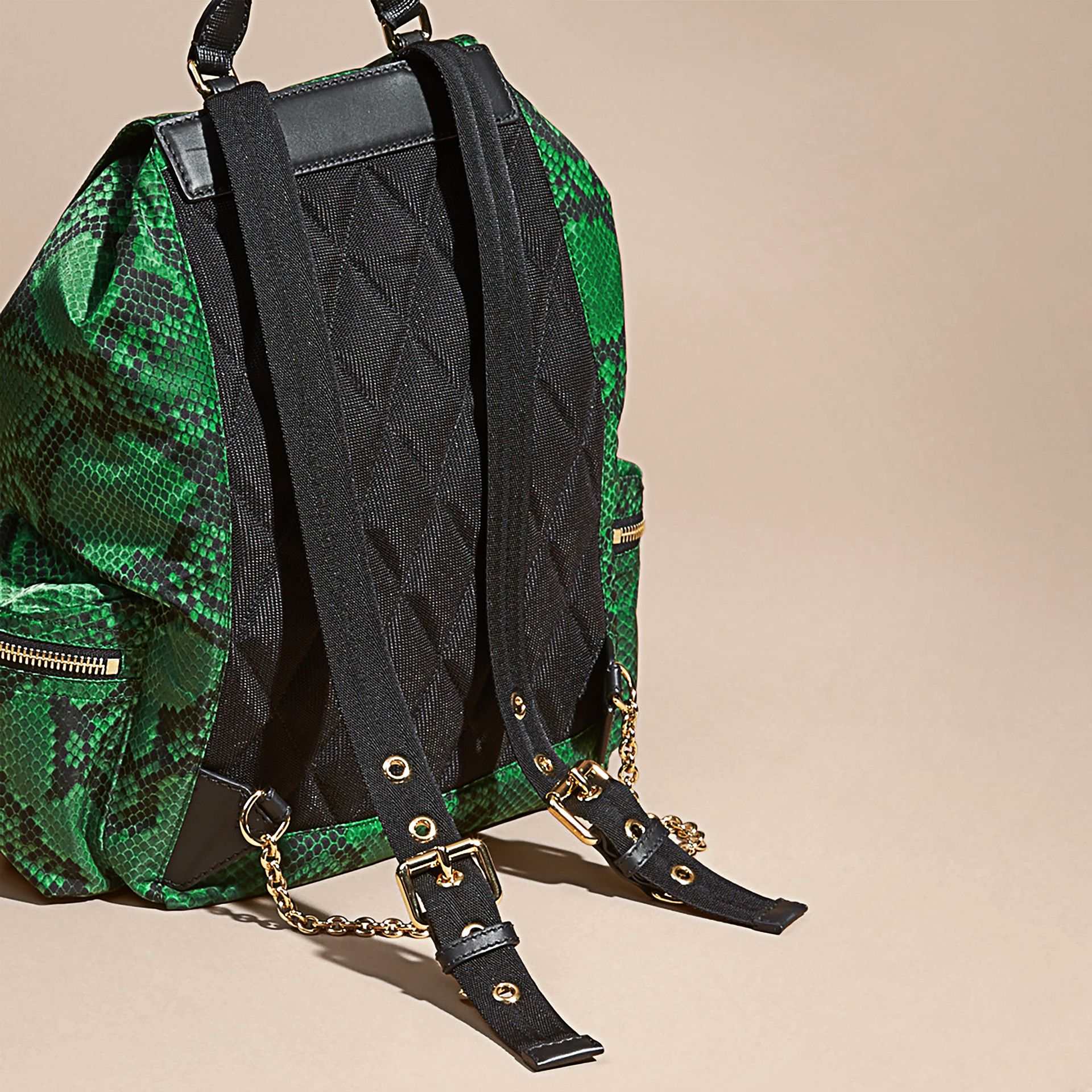 The Large Rucksack in Python Print Nylon and Leather Green - gallery image 4