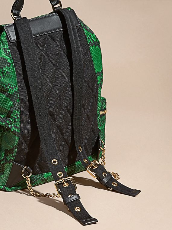 Green The Large Rucksack in Python Print Nylon and Leather Green - cell image 3