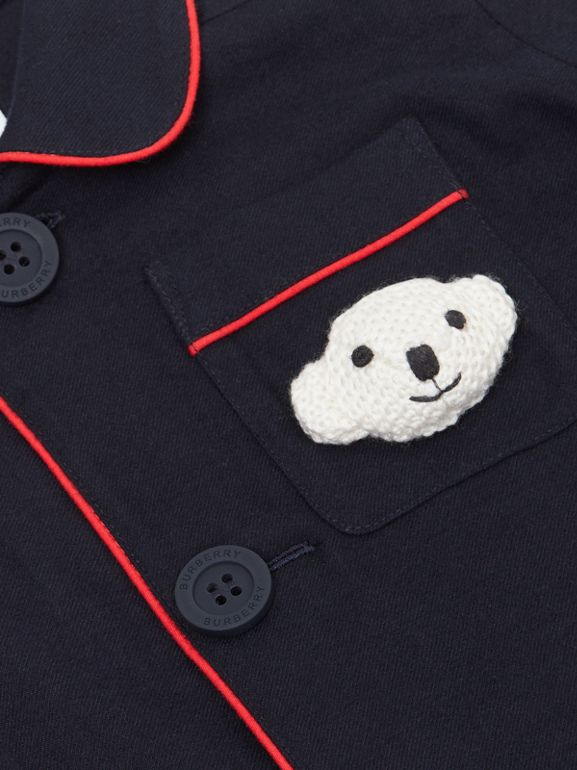 Thomas Bear Detail Cotton Flannel Pyjama Shirt in Navy - Children | Burberry Singapore - cell image 1