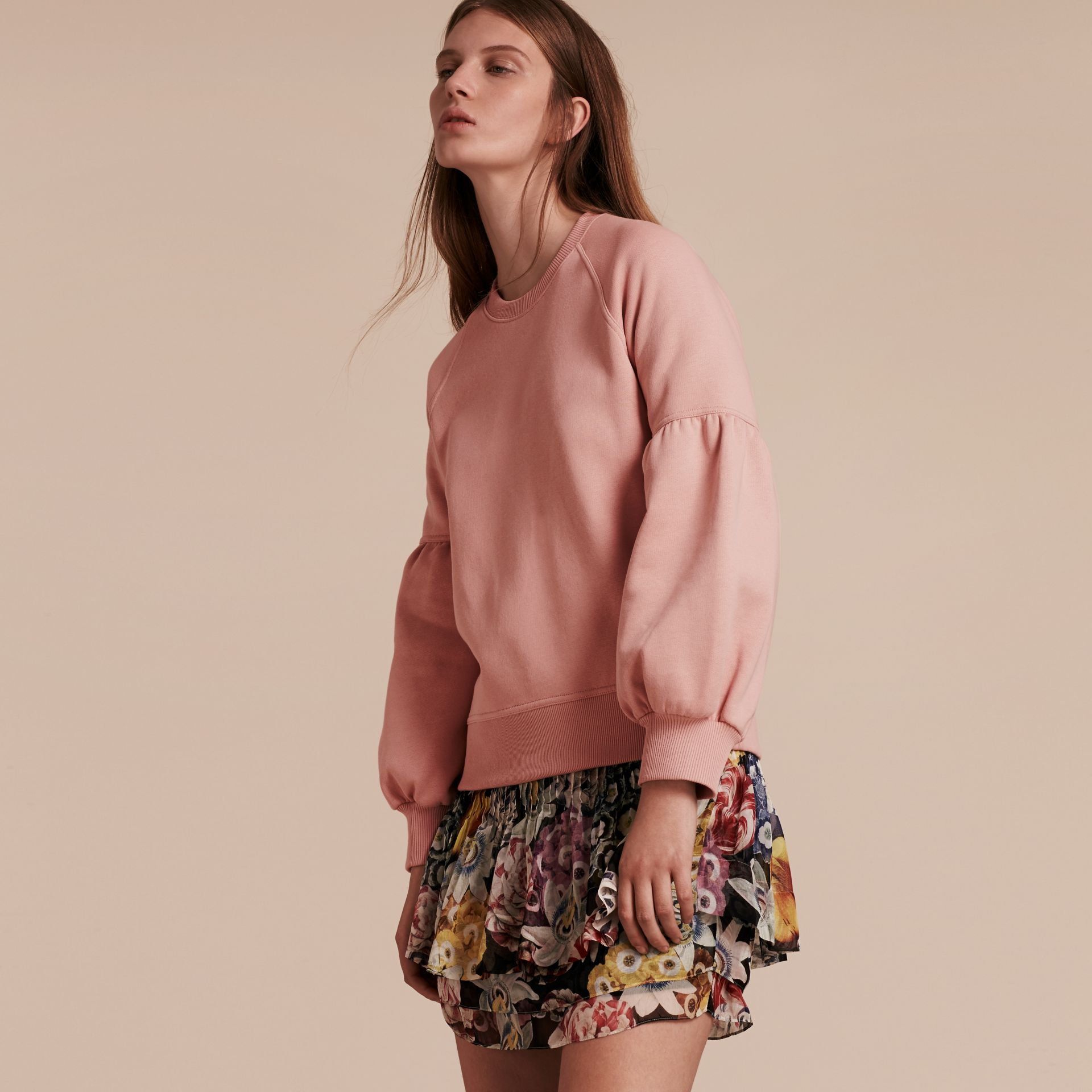 Sweat-shirt en jersey brossé avec manches cloches Rose Cendré - photo de la galerie 6