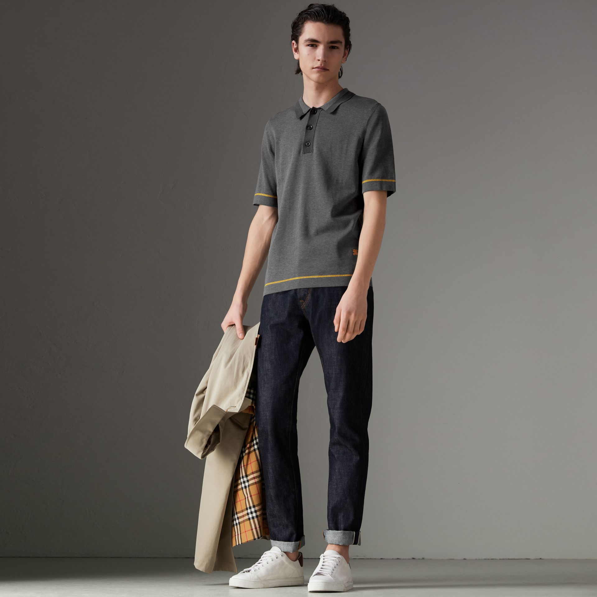 Tipped Cotton Jersey Polo Shirt in Mid Grey Melange - Men | Burberry - gallery image 4
