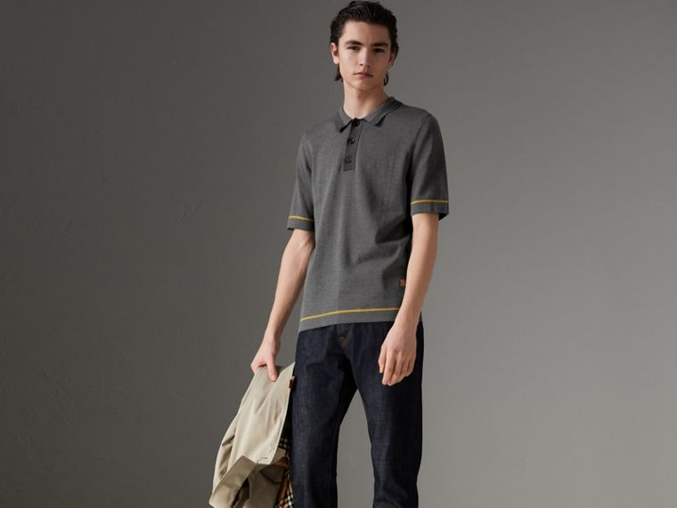 Tipped Cotton Jersey Polo Shirt in Mid Grey Melange - Men | Burberry - cell image 4