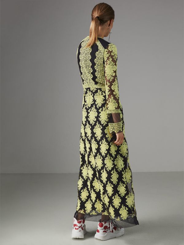 Floral-embroidered Long-sleeve Dress in Pale Camomile/black - Women | Burberry United Kingdom - cell image 2