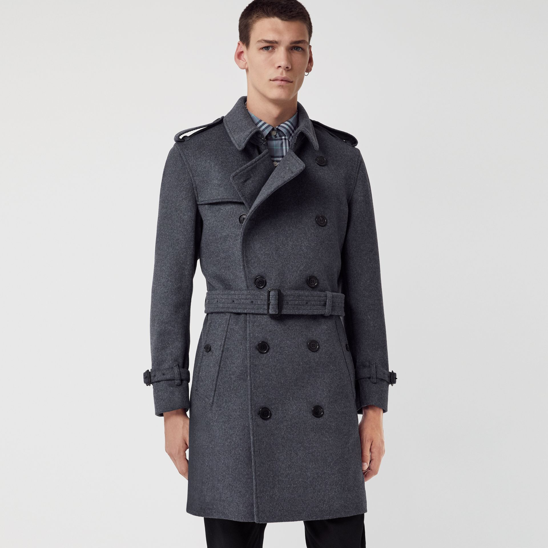 Wool Cashmere Trench Coat in Pewter Melange - Men | Burberry - gallery image 5