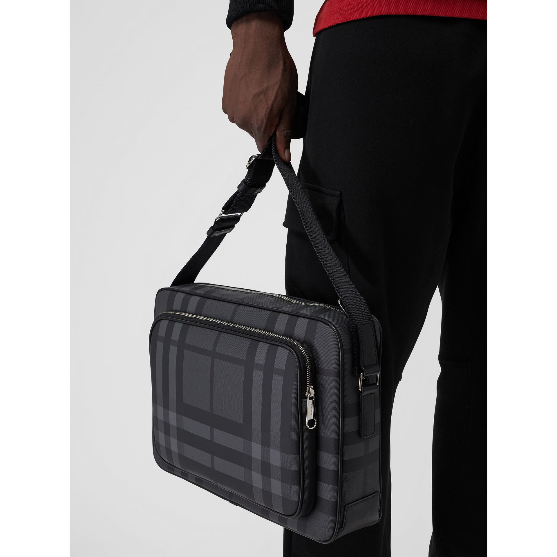 London Check Messenger Bag in Charcoal/black - Men | Burberry Australia - gallery image 3