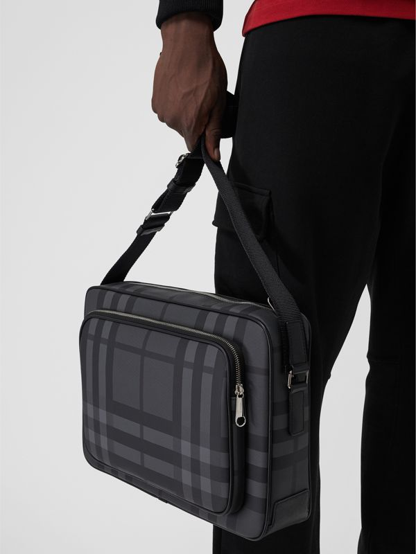 London Check Messenger Bag in Charcoal/black - Men | Burberry Singapore - cell image 3