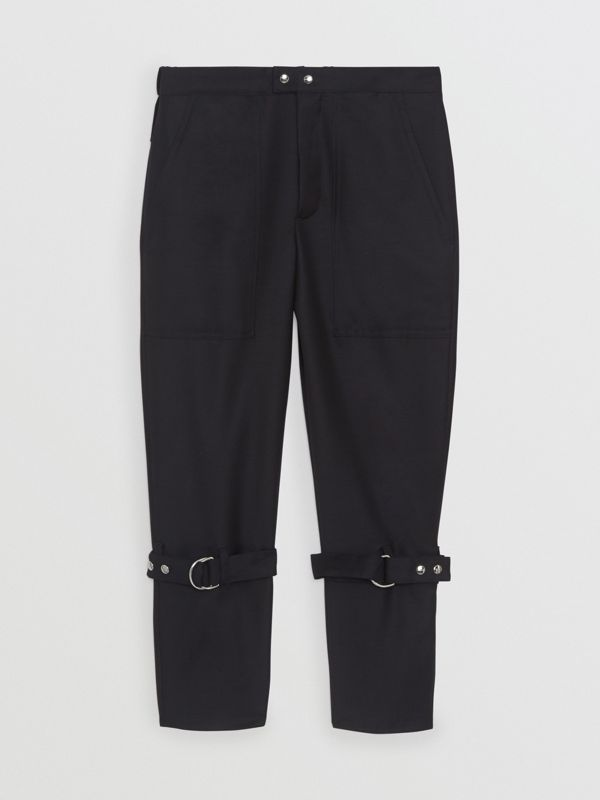 Wool Mohair Punk Trousers in Navy Black - Men | Burberry Singapore - cell image 3