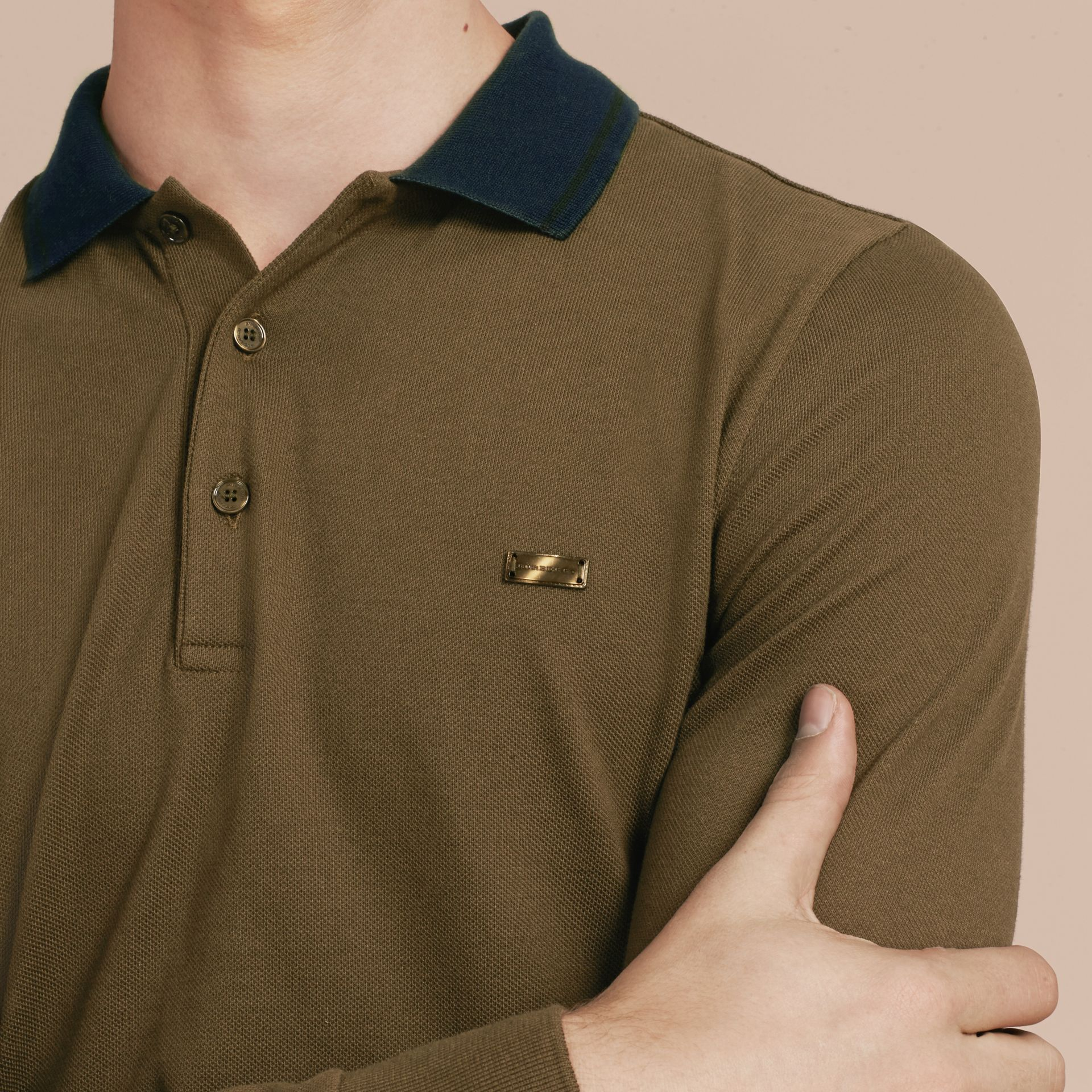 Military green/black Contrast Tipping Cotton Piqué Polo Shirt Military Green/black - gallery image 5