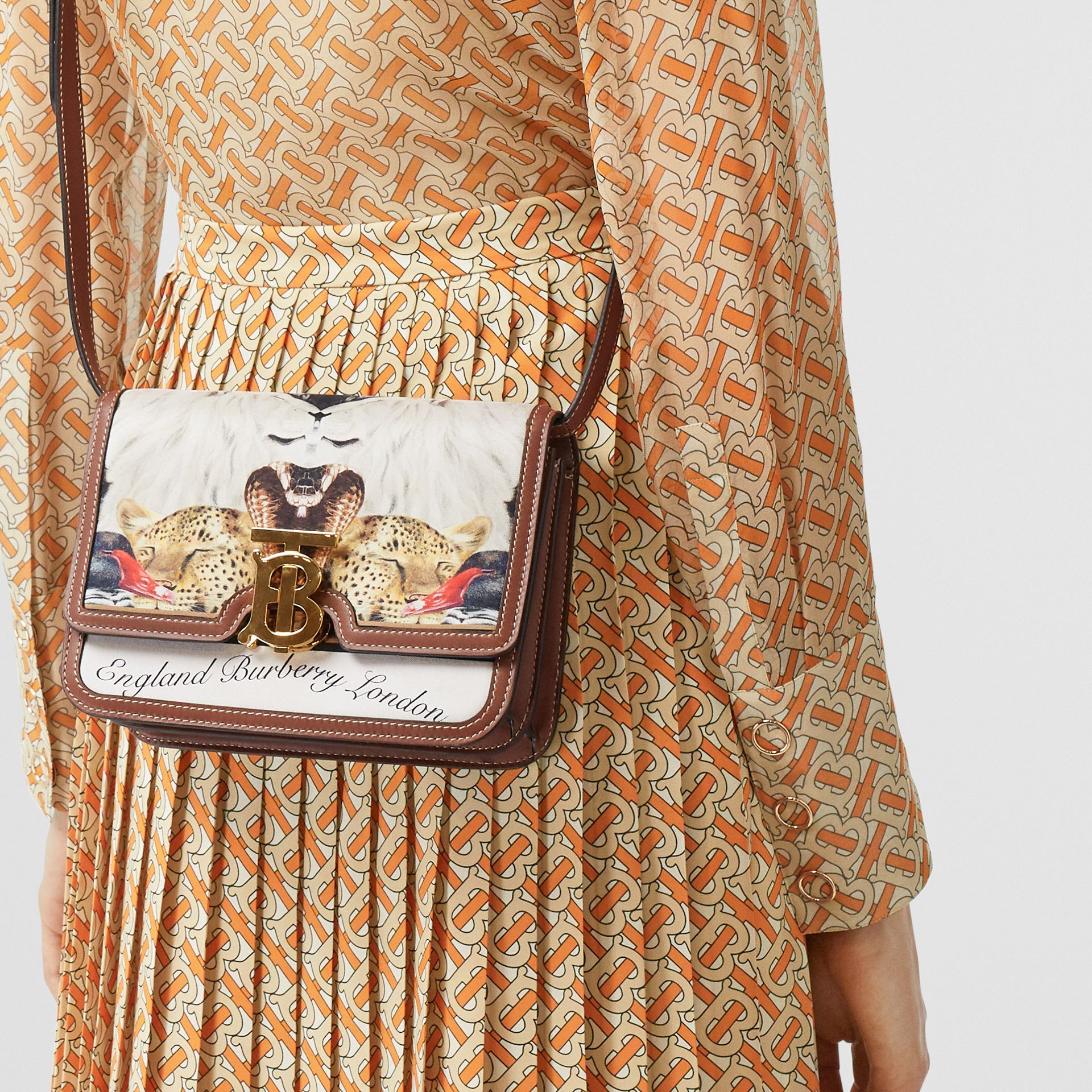 Small Animalia Print Silk and Leather TB Bag in Tan - Women | Burberry Australia - gallery image 2
