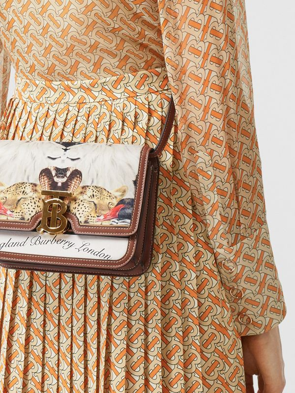 Small Animalia Print Silk and Leather TB Bag in Tan - Women | Burberry - cell image 2